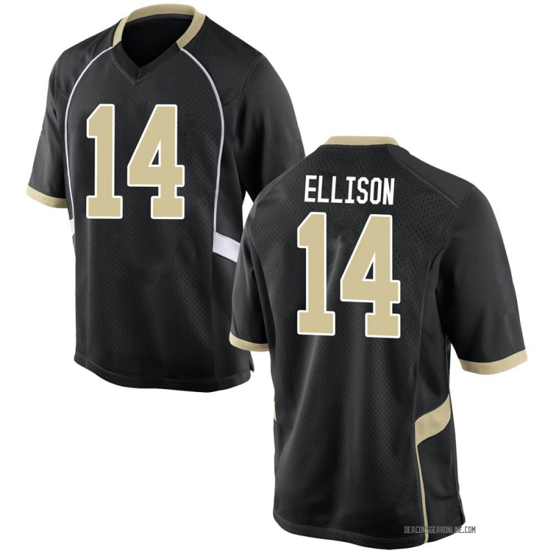 Replica Men's Justice Ellison Wake Forest Demon Deacons Black Football College Jersey